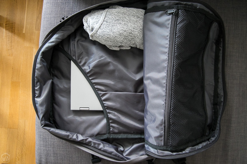 Inside of CabinZero bag - Tips for traveling light - ultimate packing guide Carry On Packing List