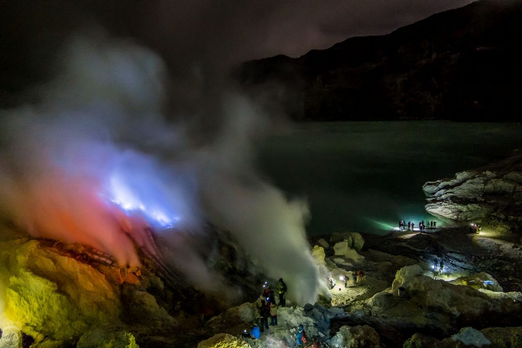 Blue Flames in Ijen volcano crater during Kawah Ijen tour hike