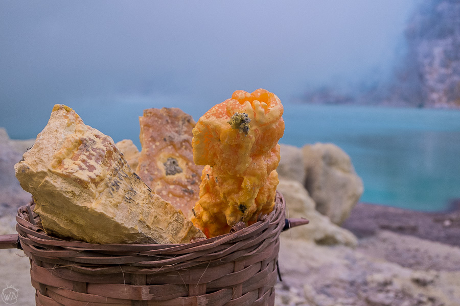 The sulfur in the Ijen volcano crater