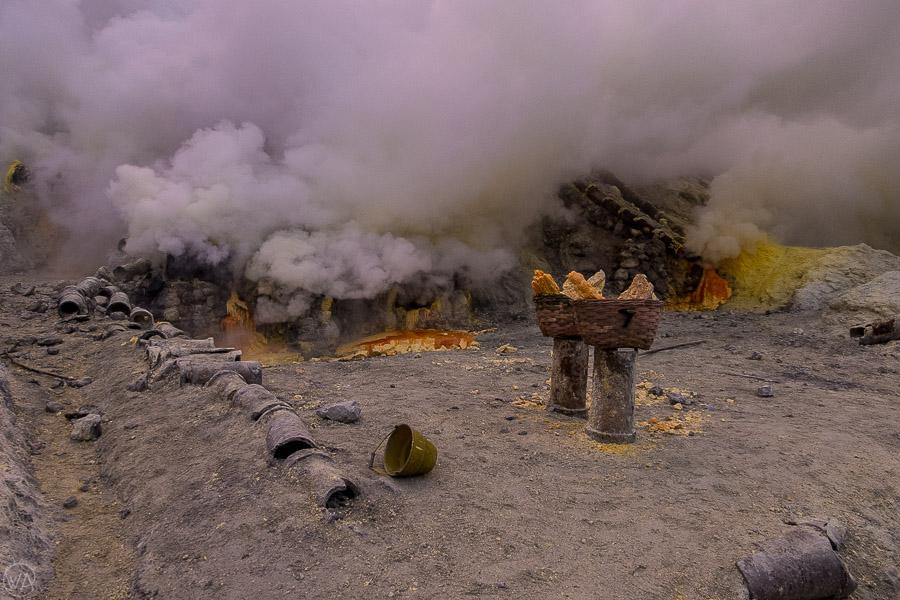Kawah Ijen volcano sulphur mine