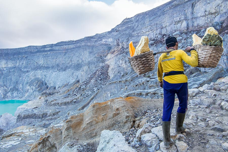 Miner carrying sulfur up the Ijen crater