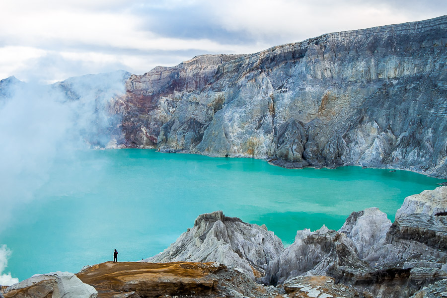 View to the acid lake during Ijen hike, East Java, Indonesia
