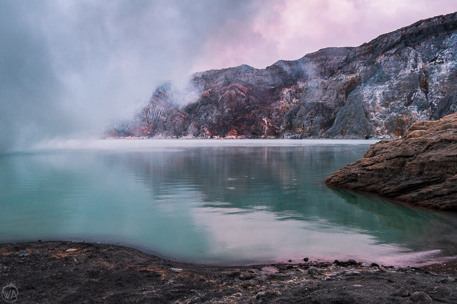 View of Kawah Ijen crater and acid lake