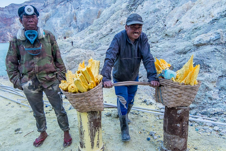 Miners in Ijen crater