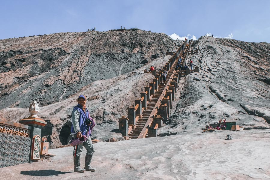 Steps to the top of the Mount Bromo crater during the Mount Bromo hike