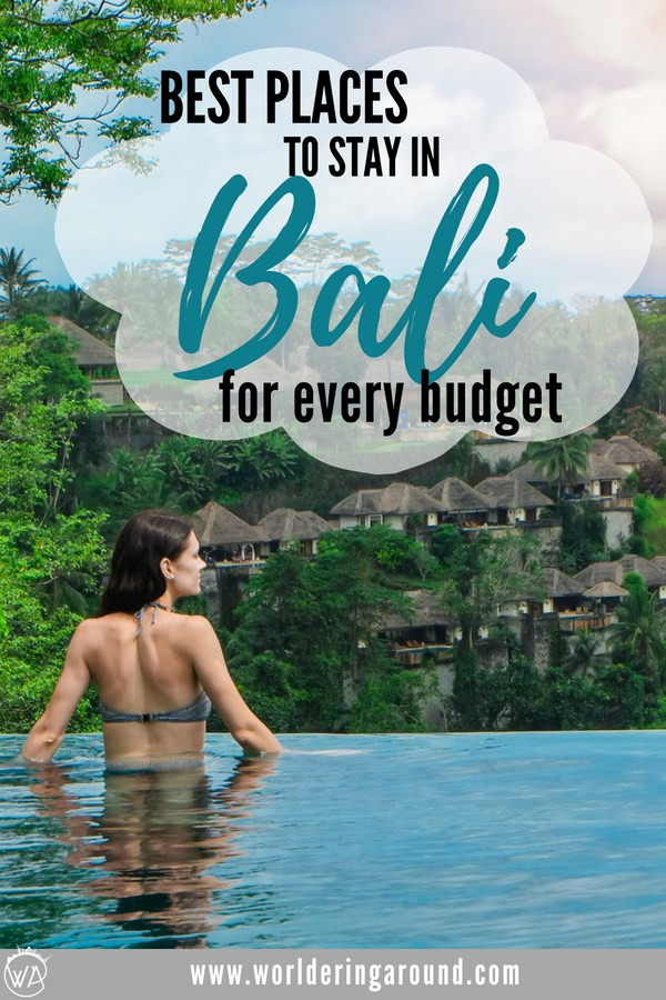 Deciding on where to stay in Bali in Indonesia is important for success of your trip. Travel bloggers describe the best areas to stay in Bali, so you can find your perfect Bali hotel, villa or a backpacker hostel in a jungle or on the beach, all checked for the best quality! | Worldering Around #Bali #Indonesia #wheretostay #Balihotels