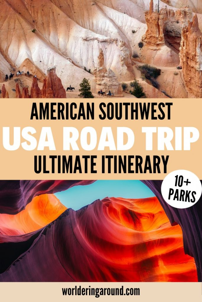 Ultimate American Southwest Road trip itinerary. Southwest USA Road Trip through Grand Canyon, Zion, Monument Valley, Bryce, Antelope Canyon, Petrified Forest, Painted Desert, Arches National Park, Gooseneck State Park, Canyonlands National Park, Capitol Reef National park, Las Vegas, Los Angeles, Santa Monica, San Francisco, Big Sur, Arizona, Utah, Nevada, California, Page, Lake Powell, Route 66, Moab, USA two weeks, 12 days USA itinerary, 10+ National and State Parks. Unites States, US National Parks, Route 66 The United States of America travel, America travel, United States travel places to visit, destinations, bucket lists | #USA #Southwest #Roadtrip #itinerary #Arizona #Utah #GrandCanyon #USNationalParks