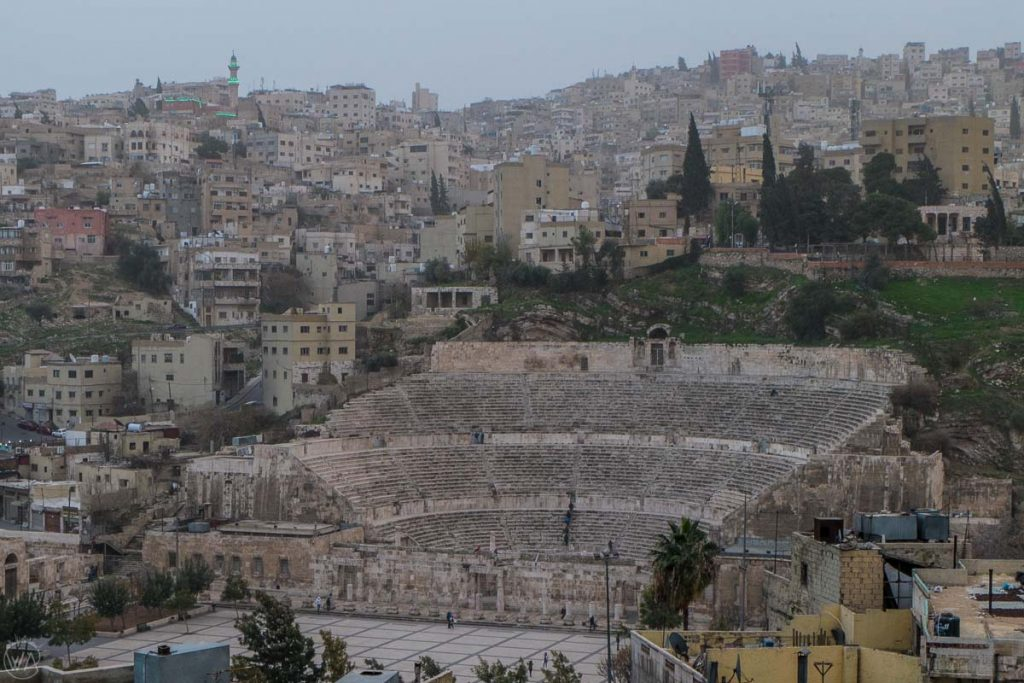 Roman theatre in Amman, our hotel in Jordan was next to it. Where to stay in Jordan, Where to stay in Amman