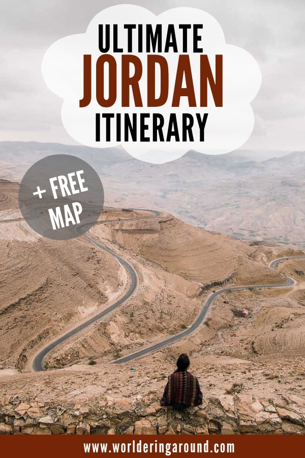 Explore the ultimate Jordan itinerary that has it all - Jordan must-see sights, Petra hikes explained, climbing the highest mountain in Jordan, visiting the important historical sites and more! Visit Jordan beyond Petra and Wadi Rum. Map included | Worldering around #Jordan #Petra #Amman #WadiRum #itinerary #travel #middleeast