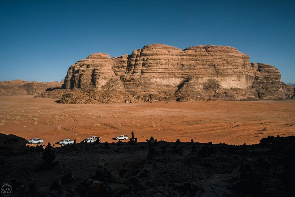 Jeeps meeting in one area of Wadi Rum, Seven Pillars of wisdom