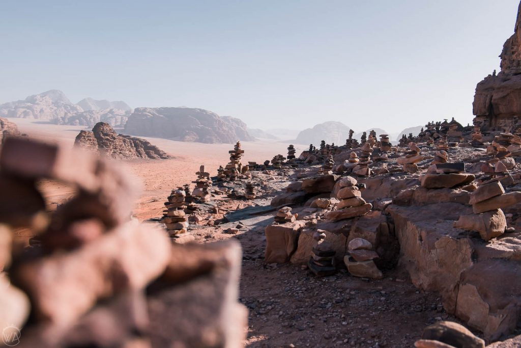 Rock piles in the Wadi Rum, Jordan