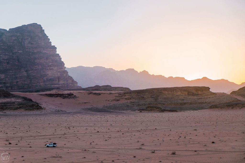 Sun setting down in Wadi Rum, Jordan