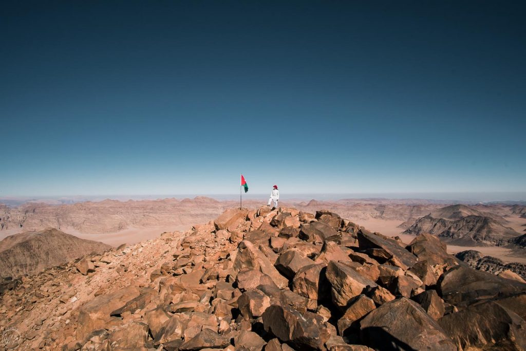 On top of Jabal Umm ad Dami, the highest mountain of Jordan, best Jordan itinerary