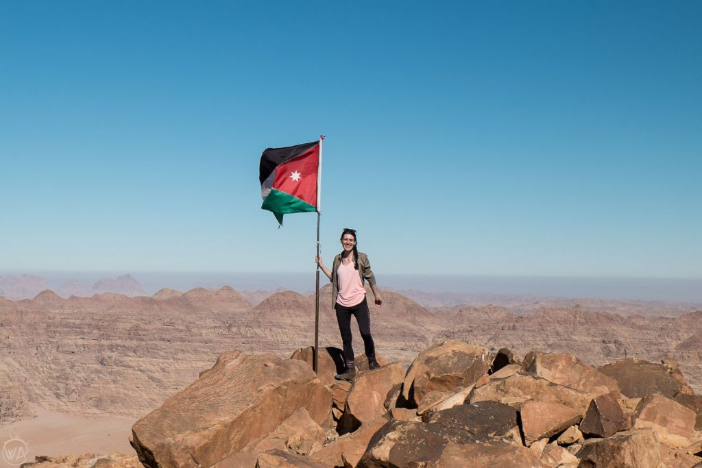 On the summit of Jabal Umm ad Dami, the highest mountain in Jordan