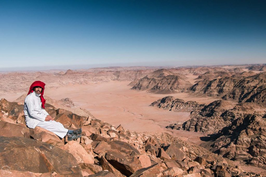 Local Bedouin on top of the highest mountain in Jordan, overlooking Wadi Rum