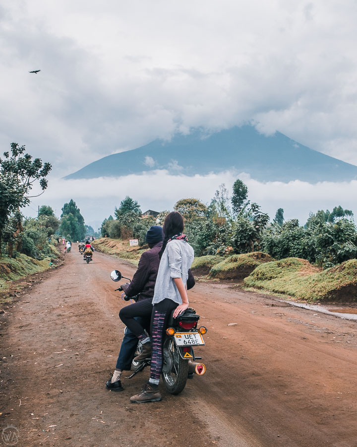 On the motorbike in Kisoro, Uganda