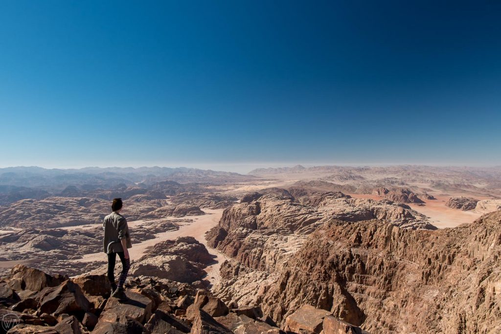 On top of Jabal Umm ad Dami, the highest mountain in Jordan, overlooking Saudi Arabia