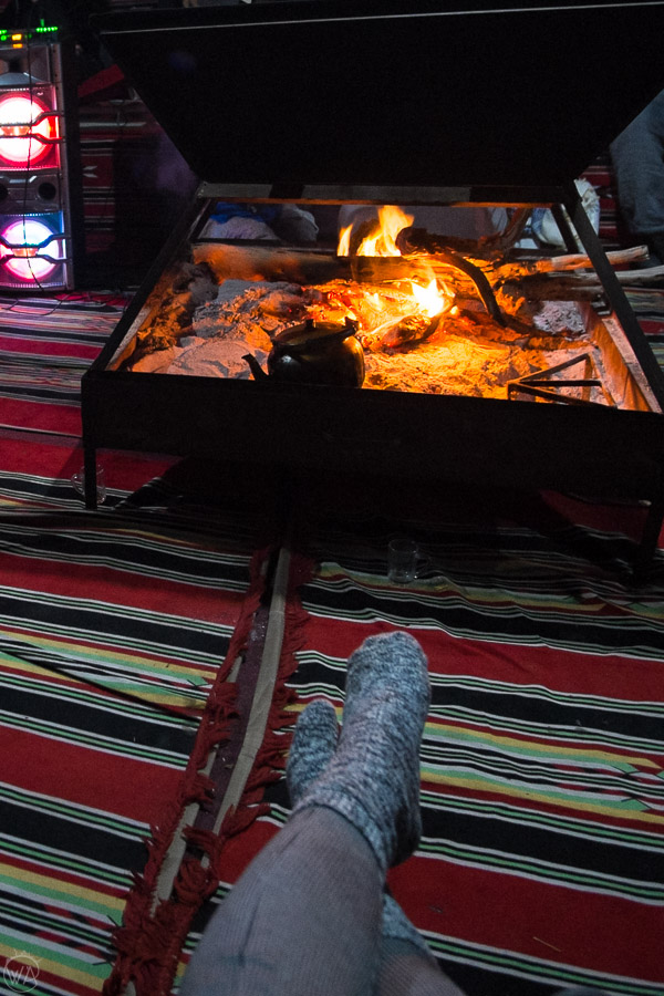 Fireplace in the Bedouin tent during Wadi Rum camping