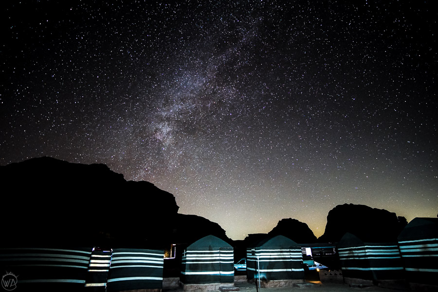 Wadi Rum Bedouin Camp at night
