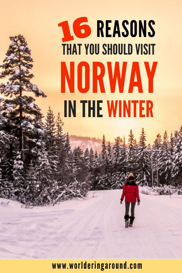 16 reasons that you should visit Norway in the winter. Why winter in Norway is worth experiencing? Try dog sledding, snowmobiling, chase Northern Lights in Norway, visit Tromso, Bergen, Oslo and Svalbard. See the fjords in winter, try Norway in a Nutshell without the crowds, go cross country skiing and hiking in the fairy tale landscape to the Norwegian cabin in the woods. | #worlderingaround #norway #winter #travel #oslo #tromso #bergen #dogsledding #northernlights #aurora #skiing #wintersports