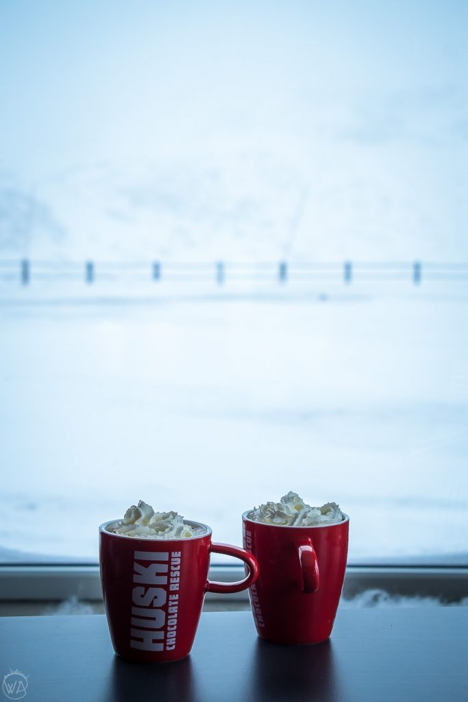 Hot chocolate in the mountains in winter in Norway