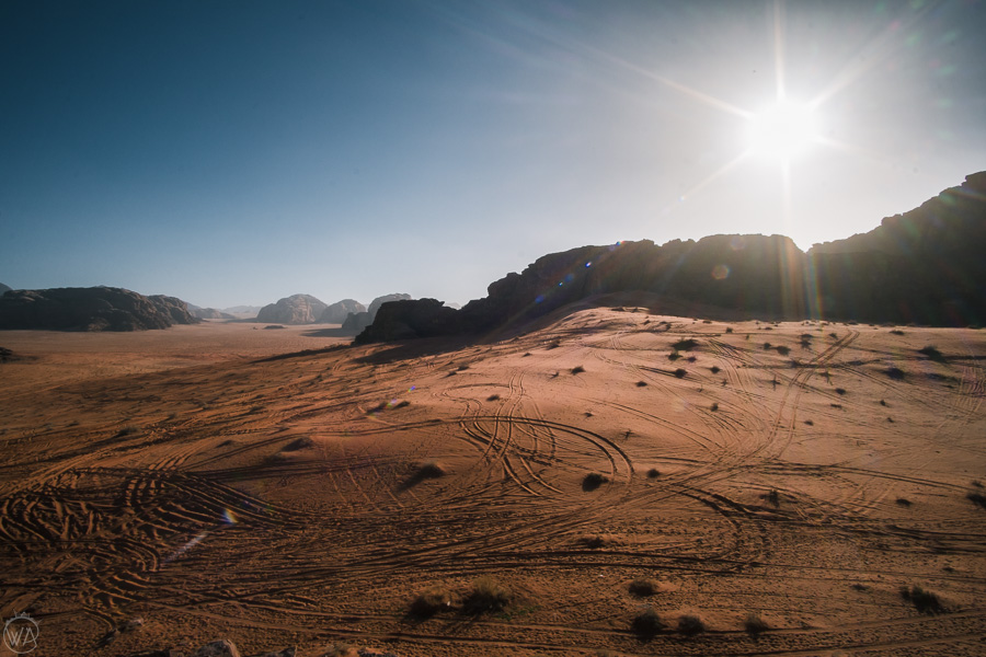 Jeep tracks in the sand illuminated by the afternoon sun, Wadi Rum