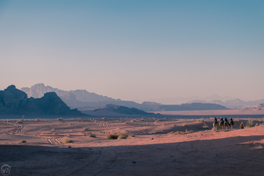 Walking towards the sunset, Wadi Rum