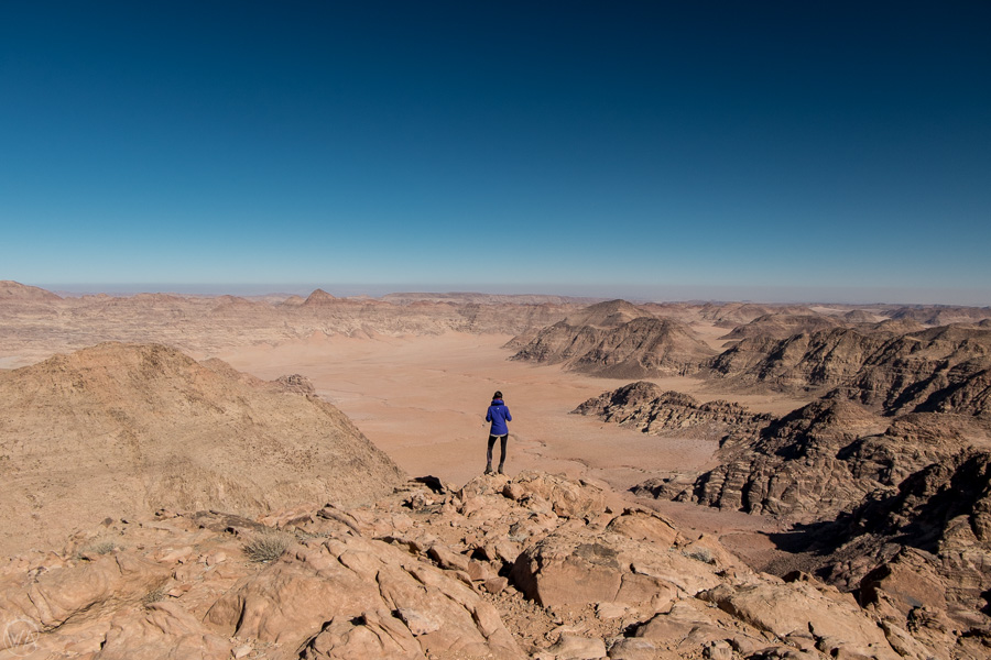 Wadi Rum hiking, overlooking the deserted landscape