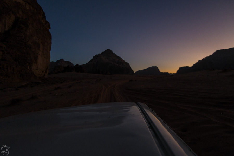 Travelling through the desert at night, Wadi Rum, Jordan