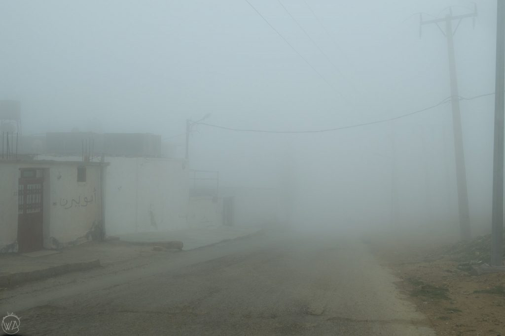 Foggy drive to Dana Nature Reserve in Jordan