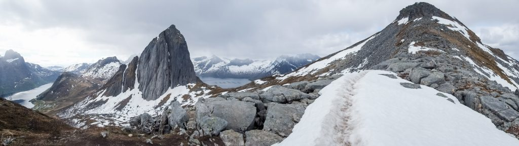 The ridge during Hesten hike on Senja, Segla view, Senja Norway