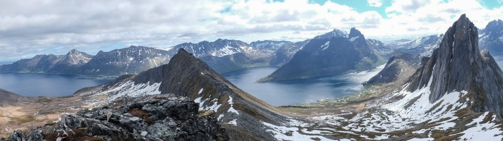 Panoramic view to Segla, Senja during the Hesten hiking trail, Norway - panorama Senja