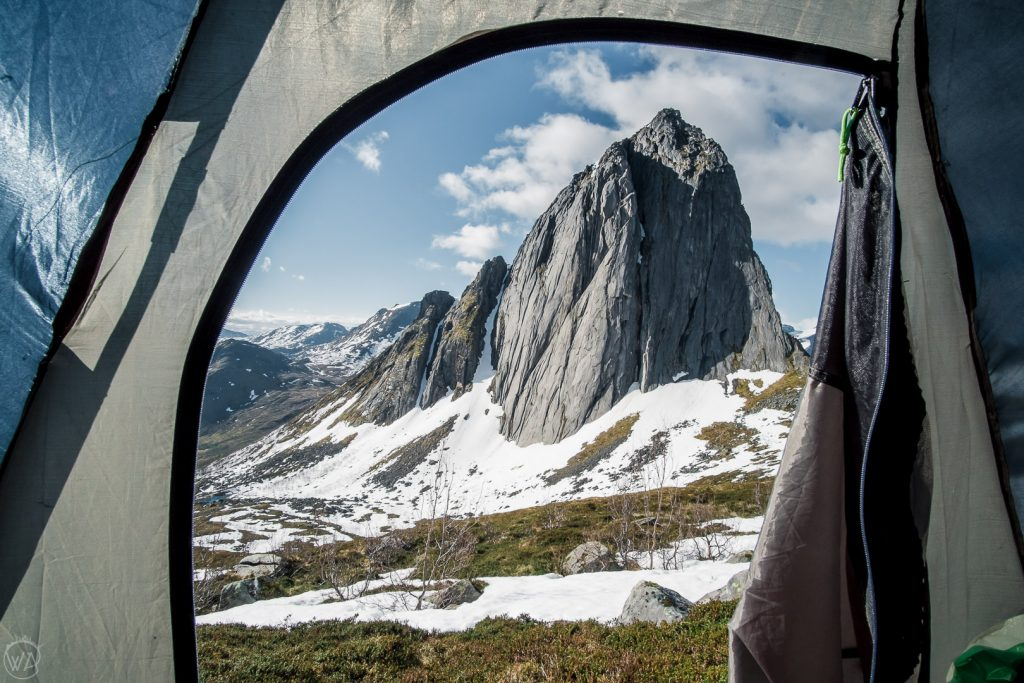 View from the tent to Segla Senja Norway
