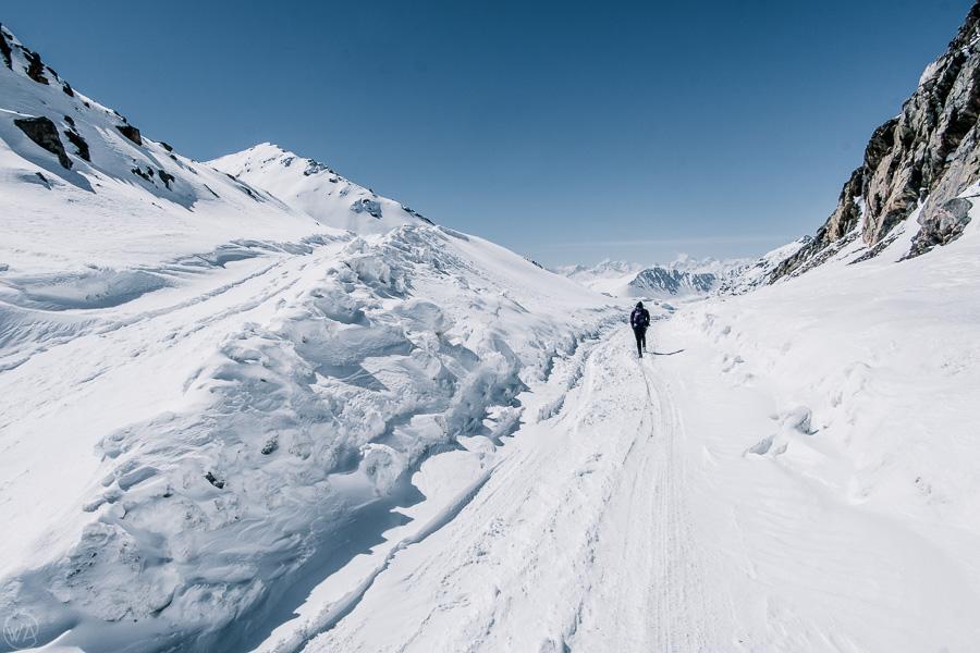 Snowy road in the Chon-Ashu pass, Tian Shan, Kyrgyzstan