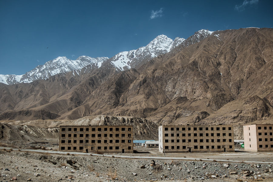 Abandoned town, Soviet ghost town Engilchek, Sary Jaz valley, Kyrgyzstan, Central Asia