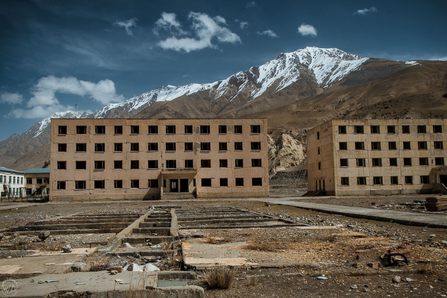 Abandoned school buildings in the ghost town Engilchek, Sary Jaz valley, Kyrgyzstan