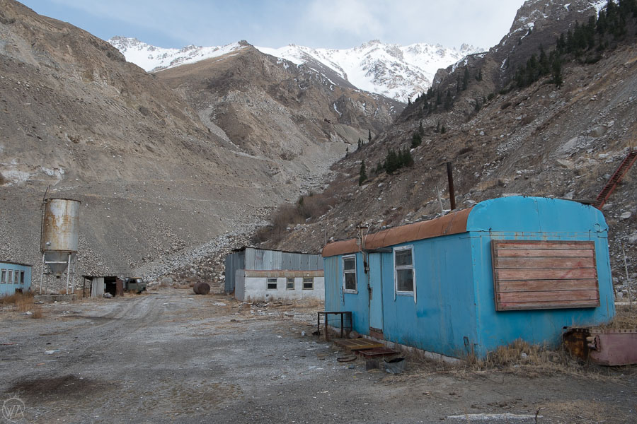 Barracks of the miners in the abandoned mines in Sary Jaz Valley, Kyrgyzstan