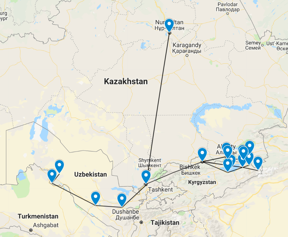 Central Asia map - my Central Asia backpacking route