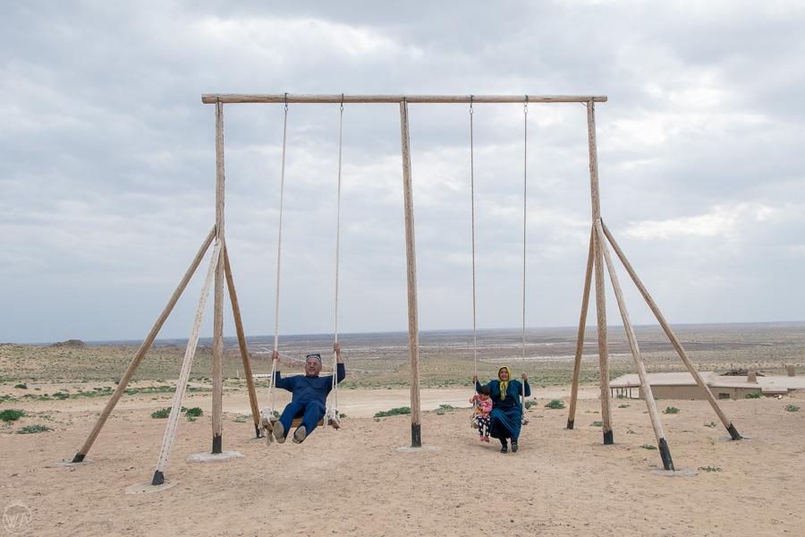 Locals having fun near Golden Ring of 50 forts, Uzbekistan