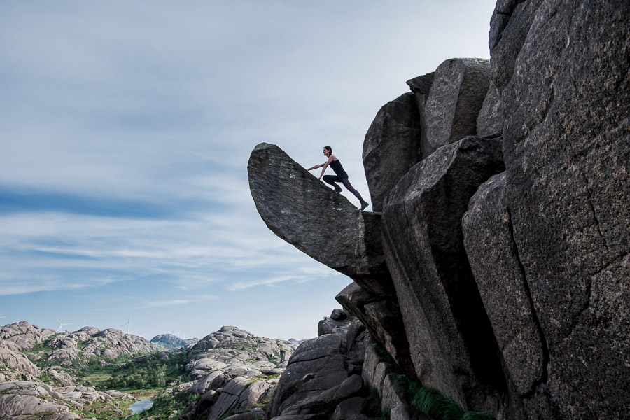 Climbing on top of Trollpikken, Norway