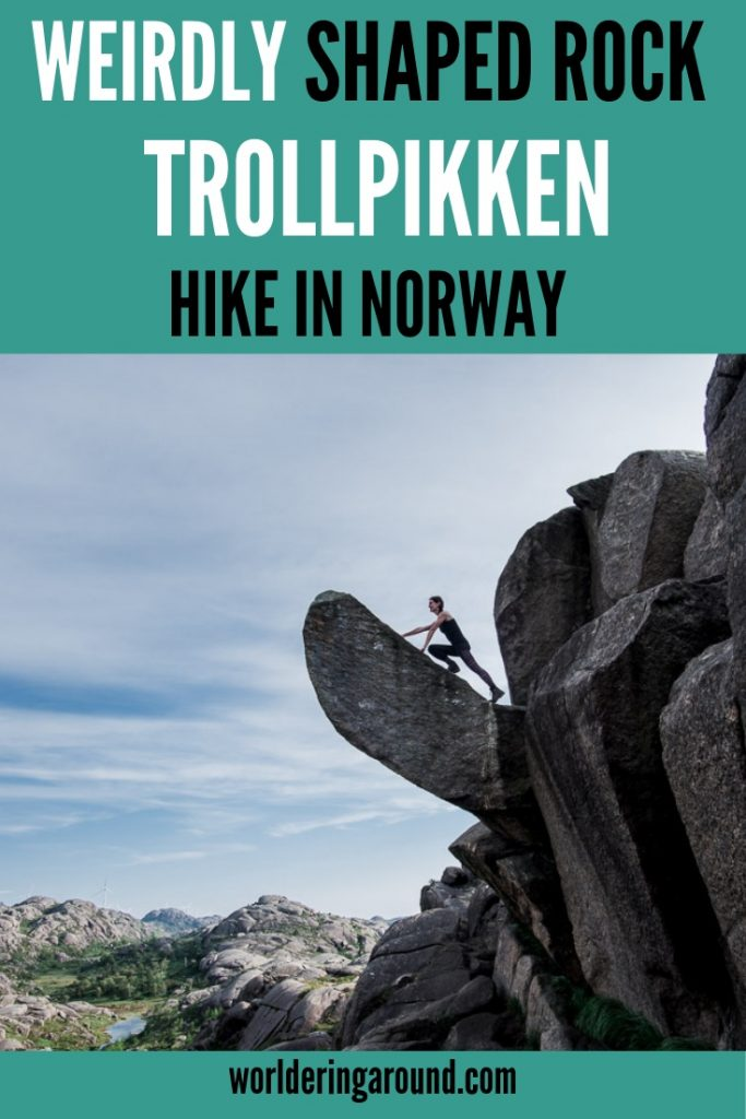 Have you ever heard about Trollpikken in Norway? Probably the most weirdly shaped rock formation in Norway. And you can hike it! Norway off the beaten path, Norway Bucket List activity, famous Norway rock formations, the best Norway things to do, Norway things to see, Norway travel, Norway fjords. #worlderingaround #trollpikken #norway #fjords #hiking #travel
