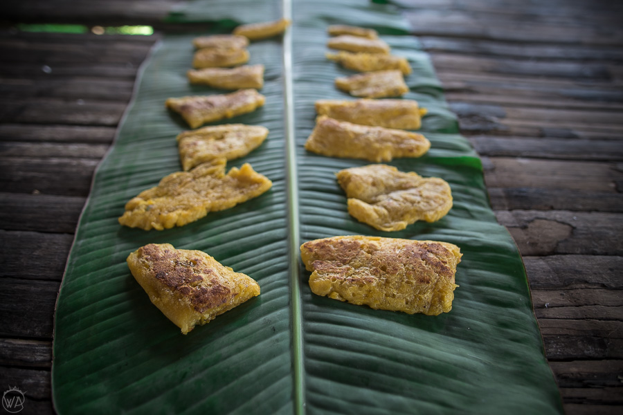 Banana cakes for the dessert in the Amazon in Ecuador!