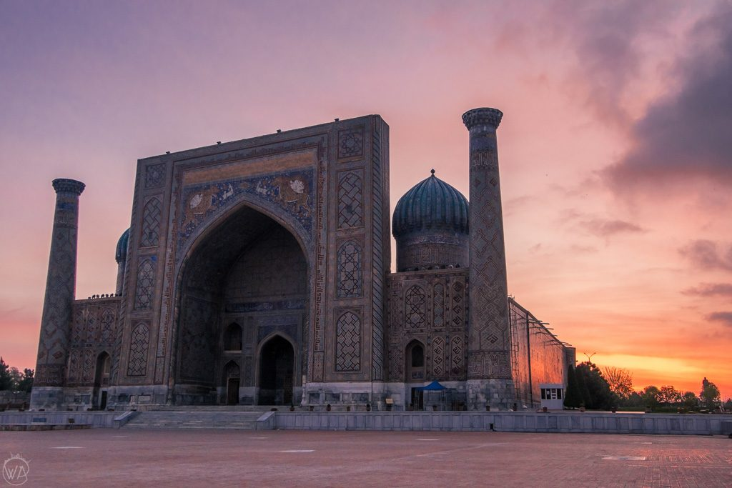 Sunrise at Registan Samarkand Uzbekistan
