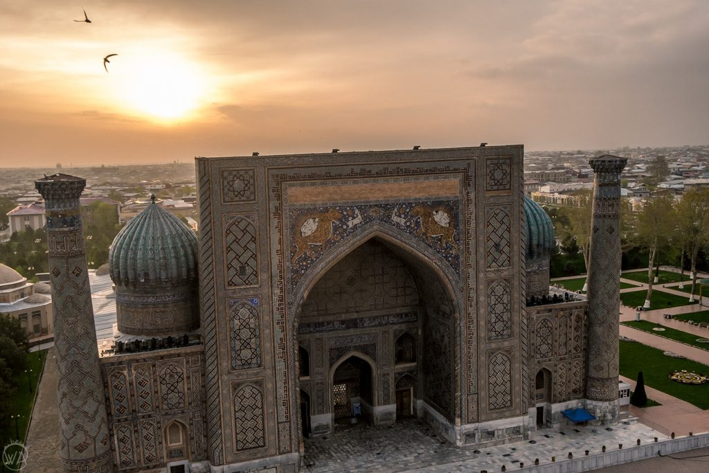 Registan Samarkand Uzbekistan at sunrise