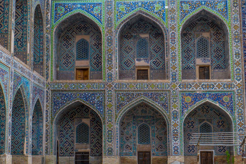 Blue tiles of Registan in Samarkand, Uzbekistan