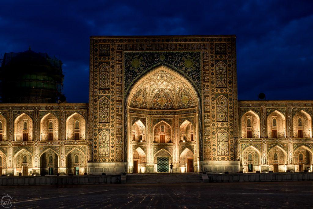 Registan at night, Samarkand, Uzbekistan
