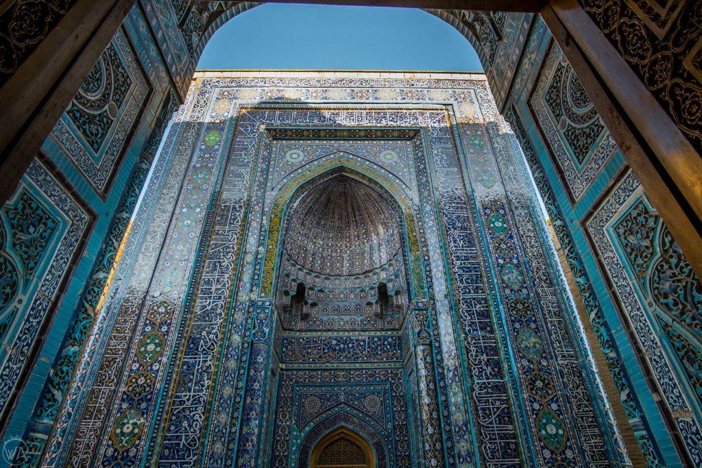 Blue tiles of Shah-i-Zinda Necropolis in Samarkand, Uzbekistan