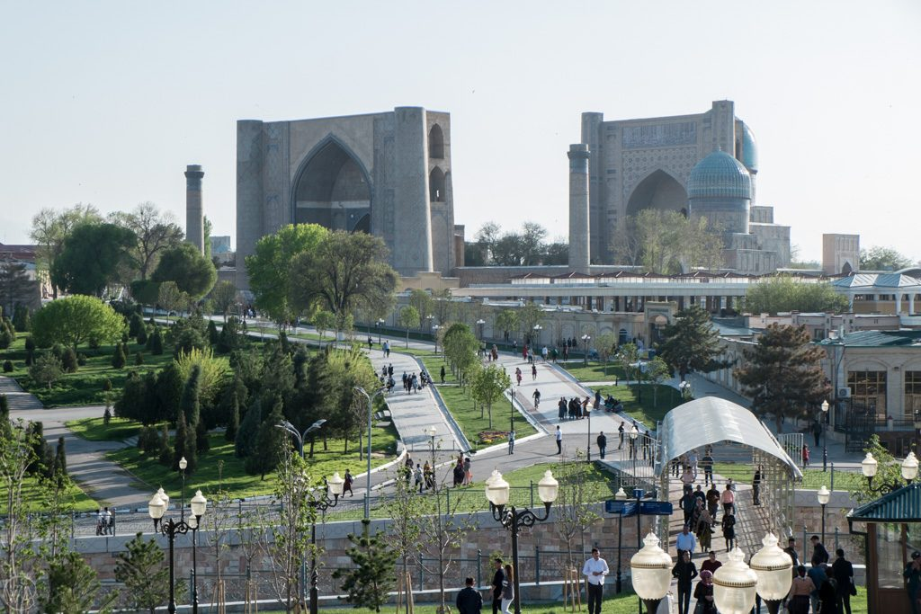 View to the Bibi Khanym Mosque, Samarkand, Uzbekistan