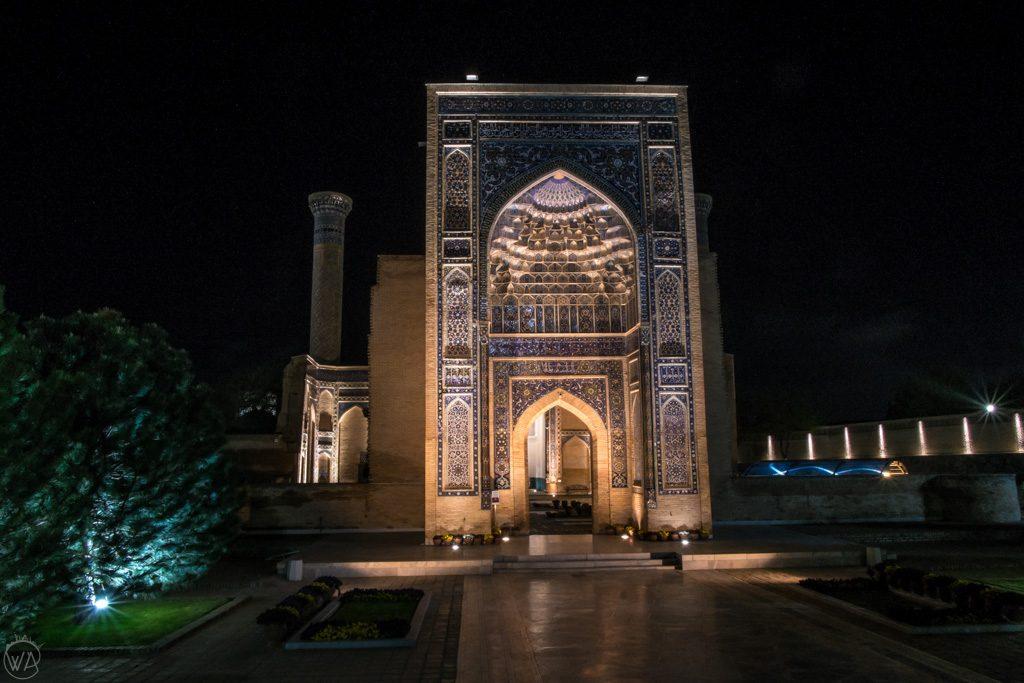 Gur-e-Amir in Samarkand, at night, Uzbekistan