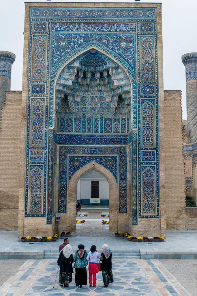 Locals in front of Gur-e-Amir in Samarkand, Uzbekistan
